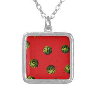 watermelons and seeds red products square pendant necklace