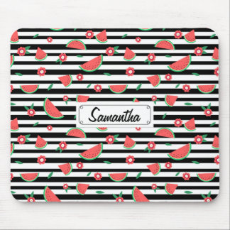 Watermelons and stripes mouse pad