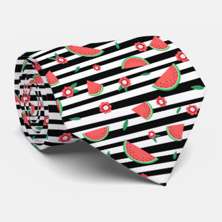 Watermelons and stripes neck tie
