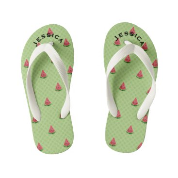 Beach Themed Watermelons Cute Kids Summer Name Lime Green Dots Kid's Flip Flops