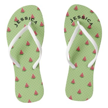 Beach Themed Watermelons Summer Personalized Lime Green Dots Flip Flops