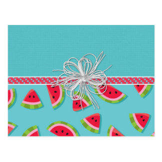 Watermelons White Bow Postcard