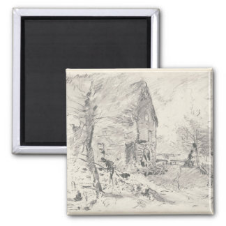 Watermill at Newbury (pencil) 2 Inch Square Magnet