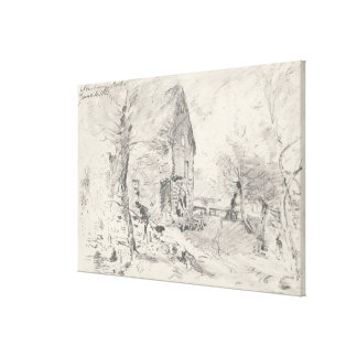 Watermill at Newbury (pencil) Canvas Print