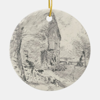 Watermill at Newbury (pencil) Ceramic Ornament