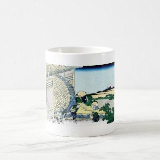 Watermill at Onden Katsushika Hokusai Fuji view Classic White Coffee Mug