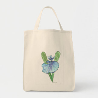Waterolor Blue Orchid Grocery Tote