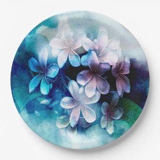 Waterolors Vibrant Blues Pulmaria Paper Plate