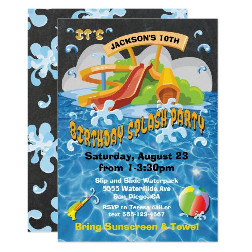 Waterpark Waterslide Pool Party Birthday Invite