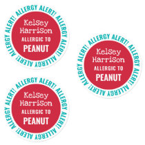 Waterproof Allergy Alert Customized Kids Daycare Labels