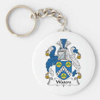 Waters Family Crest Basic Round Button Keychain