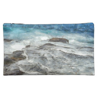 Waters furiously covering rocks cosmetic bag