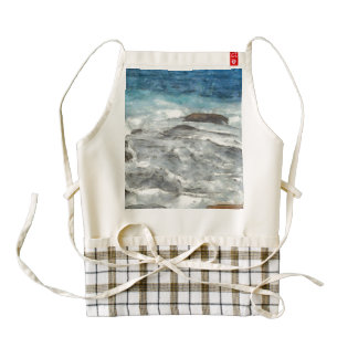 Waters furiously covering rocks zazzle HEART apron