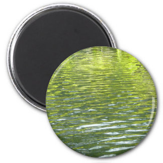 Waters of Oak Creek Yellow and Green Nature Photo 2 Inch Round Magnet