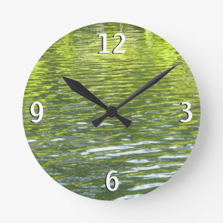 Waters of Oak Creek Yellow and Green Nature Photo Round Clock