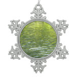 Waters of Oak Creek Yellow and Green Nature Photo Snowflake Pewter Christmas Ornament