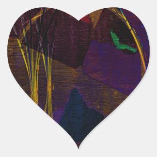 Waterscape abstracto pegatina en forma de corazón