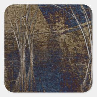 Waterscape azul pegatina cuadrada