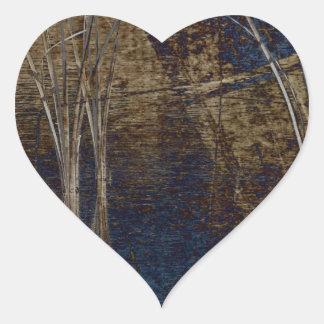 Waterscape azul pegatina en forma de corazón