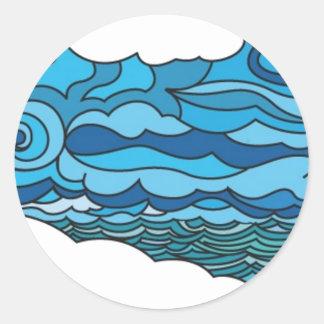 Waterscape con el faro pegatina redonda