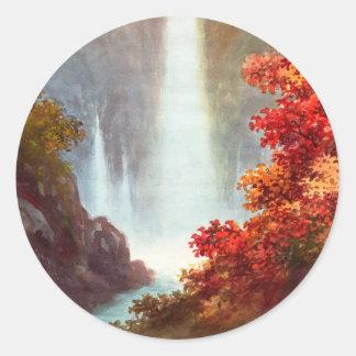 Waterscape del japonés de Nikko de la cascada de Pegatina Redonda
