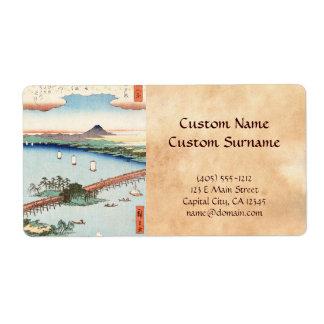 Waterscape japonés fresco del paisaje del ukiyo-e  etiquetas de envío