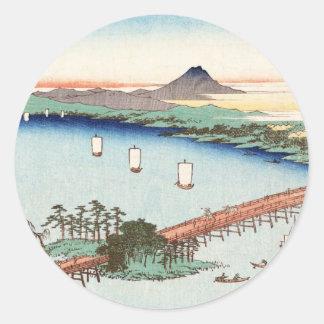 Waterscape japonés fresco del paisaje del ukiyo-e pegatina redonda