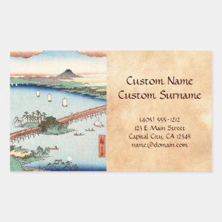 Waterscape japonés fresco del paisaje del ukiyo-e pegatina rectangular