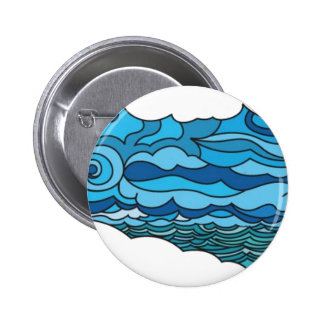 Waterscape with lighthouse pinback button