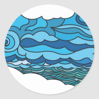 Waterscape with lighthouse classic round sticker