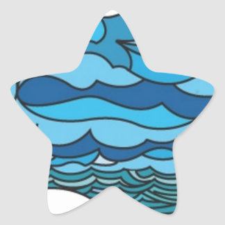 Waterscape with lighthouse star sticker