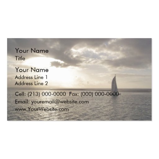 Waterscape with sailboat and cloudy sky business card