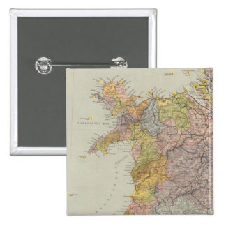 Watershed map England, Wales 3 Pinback Button