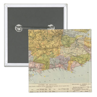 Watershed map England, Wales 6 Pinback Button