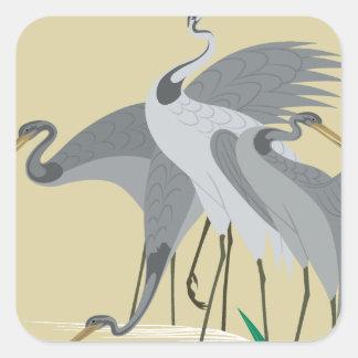Waterside birds depicted in Japanese pattern Square Sticker