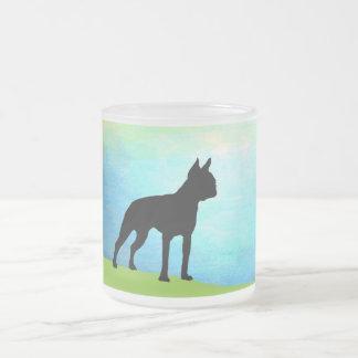 Waterside Boston Terrier Frosted Glass Coffee Mug
