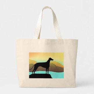 Waterside Greyhound Dog Landscape Tote Bag