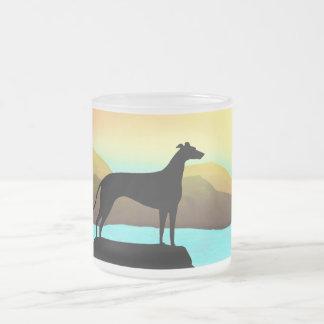 Waterside Greyhound Dog Landscape Frosted Glass Coffee Mug