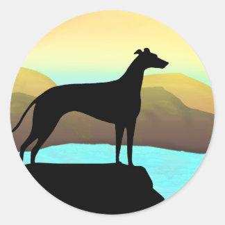 Waterside Greyhound Dog Landscape Sticker