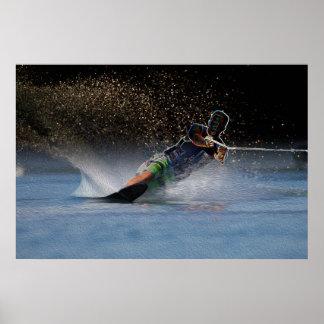 Waterskier Art-Slalom Action Poster