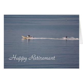 Waterskiing happy retirement card