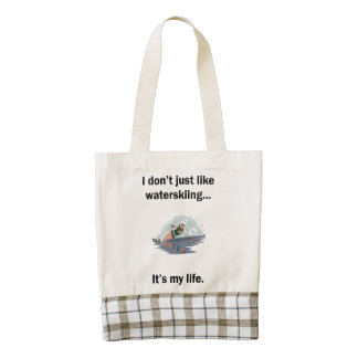 Waterskiing It's My Life Zazzle HEART Tote Bag