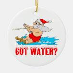 Waterskiing Santa Claus Christmas Tree Ornaments