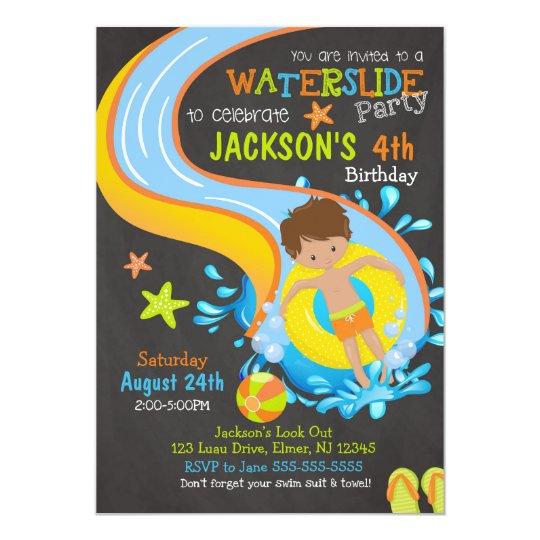 Waterslide Birthday Invitation Pool Party Boy