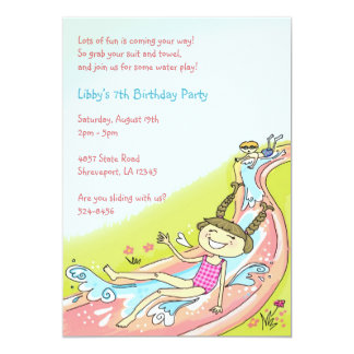 Waterslide in Grass Invitations: Girl Card