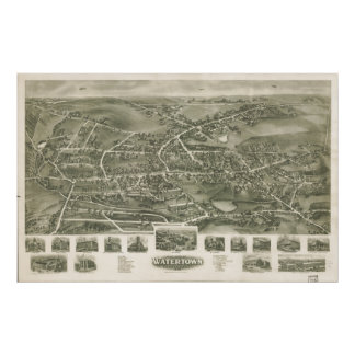 Watertown Connecticut 1918 Panoramic Map Poster