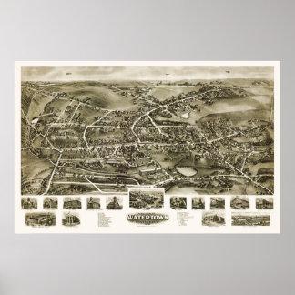 Watertown, CT Panoramic Map - 1918 Poster