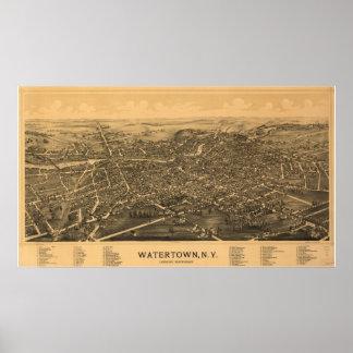 Watertown New York 1891 Antique Panoramic Map Poster
