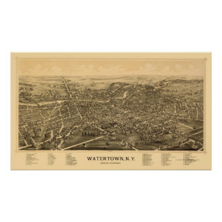 Watertown, NY Panoramic Map - 1891 Poster