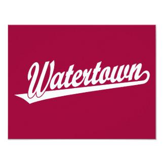 Watertown script logo in white card